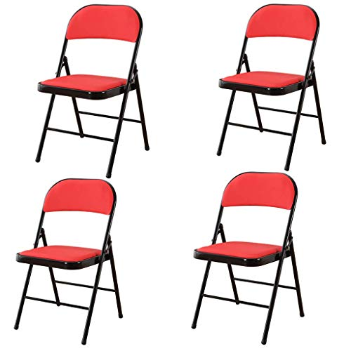 unknow Folding Office Chair Office Conference Chair Home Drafting Chair, Leisure Chair Metal Frame Double Support Pu Upholstered Seat, Staff Chair,Red,4pieces