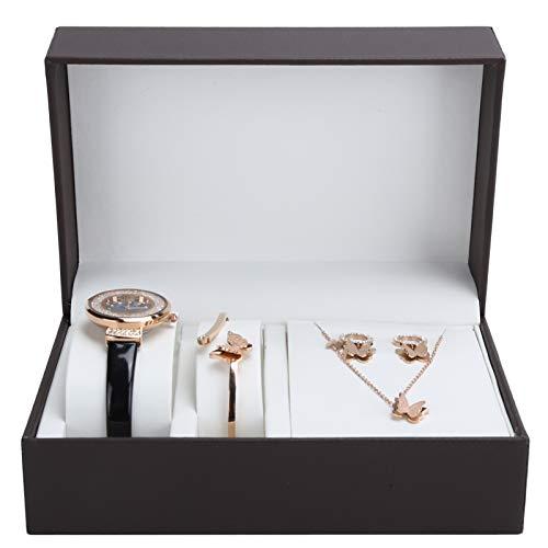 Lv. life Schmuck-Set, 4 Stück Modische Uhr Mädchen Armband Halskette Ohrringe Set mit Exquisiten Geschenkbox Jubiläum Geburtstagsgeschenk-Set für Frau Freundin Mutter(Schwarz)