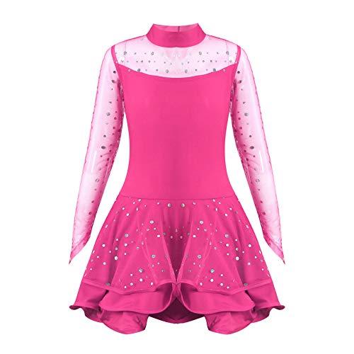 dPois Vestido de Patinaje Maillot Gimnasia Ritmica Nia Maillot de Ballet Danza Manga Larga Leotardo de Patinaje Artstico Disfraz Bailarina Tutu Princesa Cuello Alto 4-14 Aos Rosado 7-8 aos