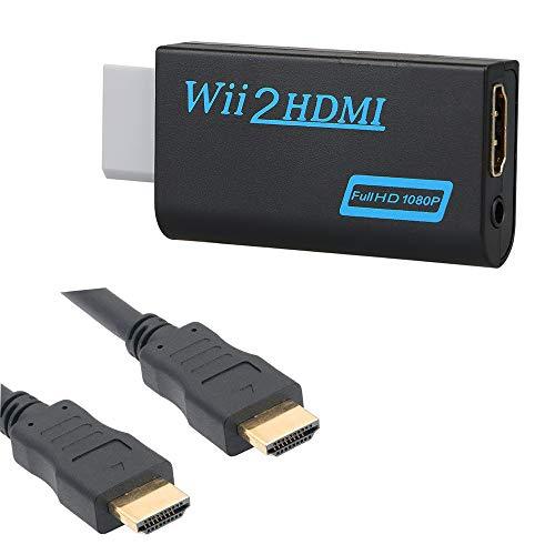 Thlevel Wii auf HDMI Adapter Konsolen Adapter Wii Konverter HDMI mit Audio via HDMI-Anschluss und extra 3,5mm Buchse Audioausgang für Wii U & Mini TV Monitor Beamer Fernseher (Schwarz)