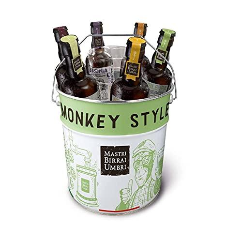 Mastri Birrai Umbri | Monkey Busket Beer Box | Selezione di 6 Birre Artigianali della linea Monkey, in Omaggio 1 secchiello e 2 bicchieri Monkey Style