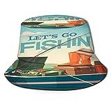 fudin Sombrero de Pescador Unisex Ilustración de Vector de Barco de Pesca Plegable De Sol/UV Gorra Protección para Playa Viaje Senderismo Camping