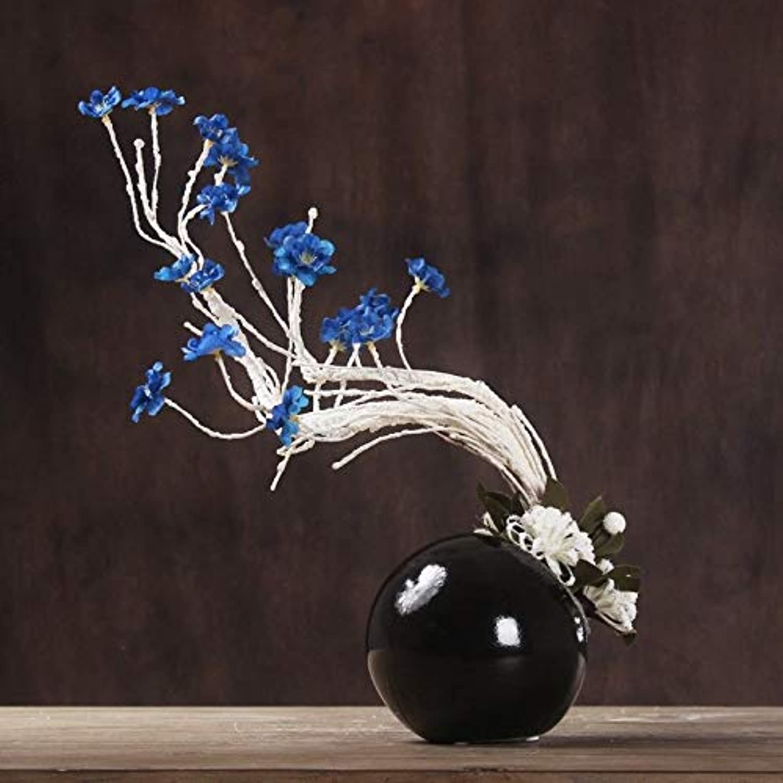 SCLOTHS Flores Artificiales Muebles Decoración Establecido Salón Azul Orquídea Mariposa Botella Negra
