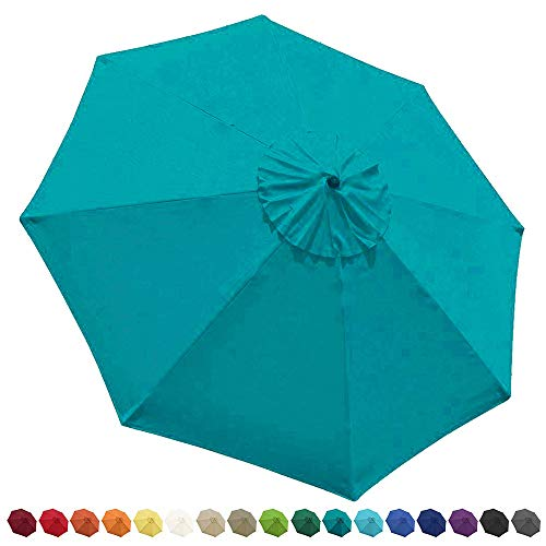 EliteShade 9ft Patio Umbrella Market Table Outdoor Deck Umbrella Replacement Canopy Cover (Canopy Only)(Teal)