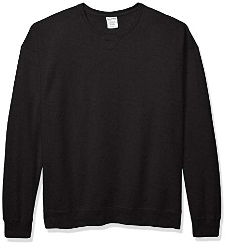 Hanes Men's ComfortWash Garment Dyed Fleece Sweatshirt, Black, X Large