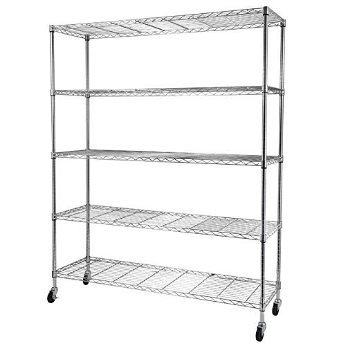 Firstlaw Fitness Durable 5-Tier NSF-Certified Steel Wire Shelving with Wheels Corrosion Resistance Househod