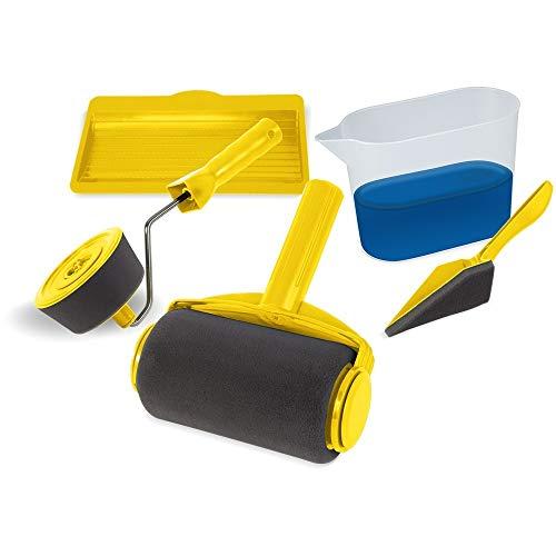 Rullo pittura con serbatoio per pittura pareti I Kit verniciatura 5 utensili con rullo per pittura e accessori I Rulli per pittura ogni superfici