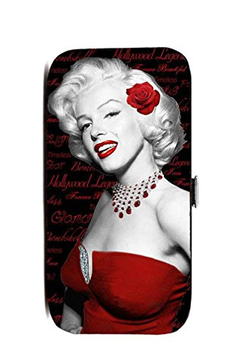 Marilyn Monroe Flat Wallet, Red Rose, Hinge Closure (Black)