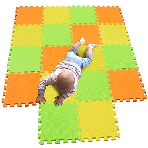 MQIAOHAM 18 pcs krabbeldecke wasserdicht teppich kinder matte für baby puzzle boden matten play gym spielmatten schaum puzzlematte kleinkind schaumstoff Orange Gelb Fruchtgrün 102105115