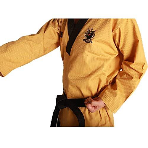 Mooto Taebek poomsae Uniforme Alto Dan dobok kukkiwon Taekwondo para Hombre 180(Altura: 180~189cm)(5.90~6.20ft) Amarilla y pantalón Azul Marino Oscuro