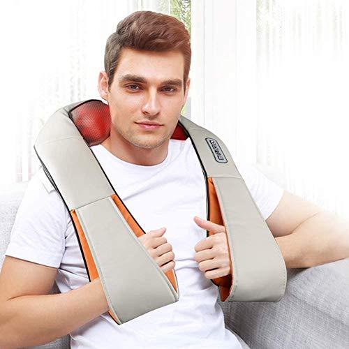 RW-Masajeador Eléctrico Cervical Espalda Cuello Hombros Electromagnético Función de Calor,Masaje de Rotación 3D,3 Niveles de Intensidad...
