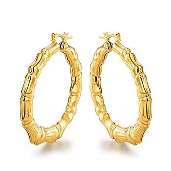 Barzel 18k Gold Plated Bamboo Hoop Earring
