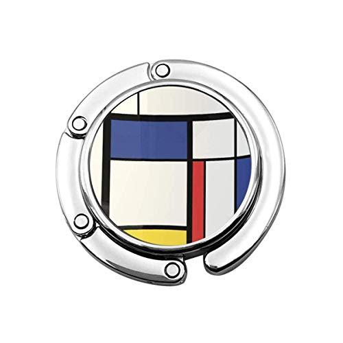 Faltbare Handtasche Kleiderbügel Geldbörse Haken, Blaue Kubismus Abstrakte Moderne Malerei In Mondrian Bunte Künstlerisch