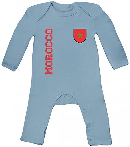 Marokko Fußball WM Fanshirt Gruppen Baby Strampler Langarm Schlafanzug Jungen Mädchen Fan Trikot Morocco, Größe: 12-18 Monate,Dusty Blue