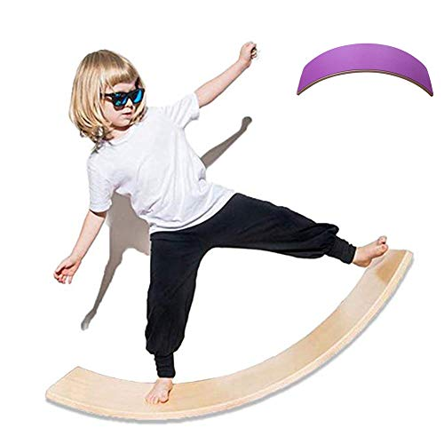lxfy Holz Balance Board Wobbel für Yoga Curvy Board, Training Balance Toy Indoor Curved Board, Holz Rocker mit Filzstoff, Kinder Holz Wippe Sensorik