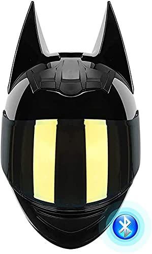 Casco De Moto Todo Terreno Batman Con Bluetooth Completo, Certificado Por DOT Casco De Moto De Cara Completa Casco De Moto De Carreras De Moto Eléctrica Negro Fresco Para Hombres Y Mujeres C,L