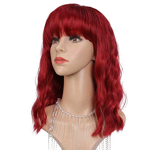 DEFEI Short Bob Wavy Wig with Bangs Wine Red Color Shoulder Length Curly Wigs for Women Synthetic Heat Resistant Bob Wigs