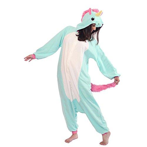 Unisex Erwachsene Kinder Pyjamas Cosplay Nachtwäsche Tier Onesie Kostüme Schlafanzug Tieroutfit tierkostüme Jumpsuit (Erwachsene S Für Hohe 145-155CM, blaue einhorn)