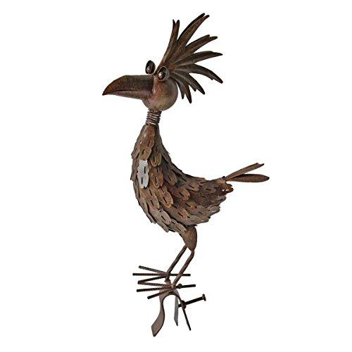Unbekannt VARILANDO® Vogel-Gartenfiguren aus Metall in Rost-Optik in 4 hübschen Varianten Taube Kakadu Kranich Vogel Metall-Figur (Vogel Ottokar)