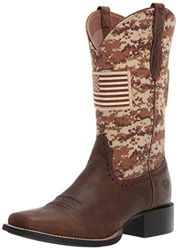 Ariat Women's ROUND UP PATRIOT Boot, distressed brown, 11 B US