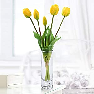Silk Flower Arrangements Artificial Flowers Tulips Bouquet in Glass Vase,Fake Flowers with Vase Arrangements for Home, Kitchen, Table, Office, Room, Party Decoration (Yellow Tulip)
