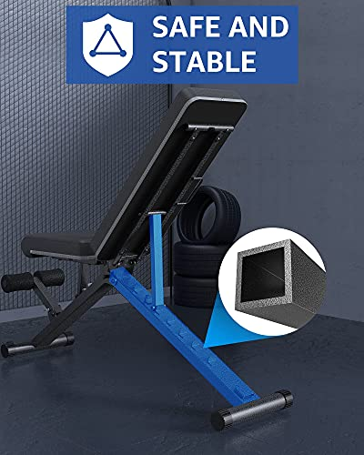 BARWING Adjustable Weight Bench- Foldable Utility Workout Bench, 8+4+2 Adjustable Position Bench, Incline Decline Flat Multifunctions Exericise bench Strength Training Bench for Home Gym Black