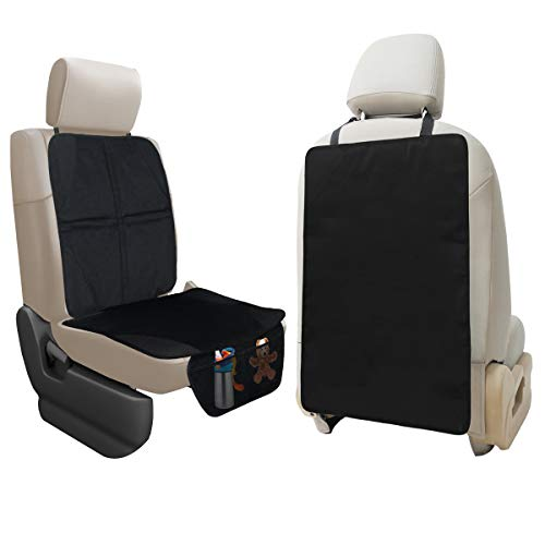 Lebogner Car Seat Protector + X-Large Kick Mat Auto Seat Back Protector, Durable Seat Liner & Cover + Waterproof Back Seat Kick Guard Seat Saver To Protect Your Leather And Upholstery Seat From Damage