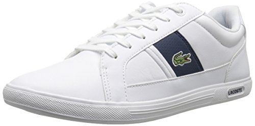 Lacoste Men's Europa LCR3 Fashion Sneaker, White/Dark Blue, 9.5 M US