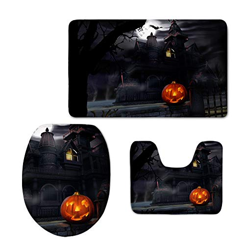 Coloranimal 3 Pice Sets Bathroom Area Rug, Includes Bath Mat+Toilet Cover+Contour Rug, Halloween Night Pumpkn Theme Soft Carpet, Black Orange New Mexico