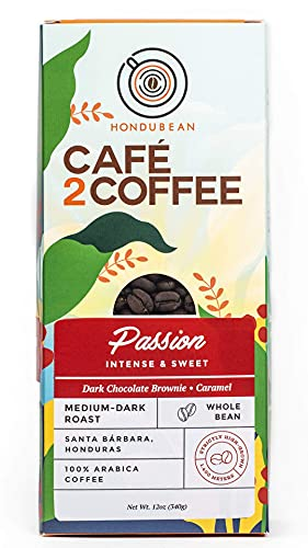Cafe2Coffee Passion Coffee Beans, Medium-Dark Roast, with Notes of Dark Chocolate Brownie and Caramel, 100% Arabica Specialty Coffee from Honduras, Organic Grown, Mycotoxin Free,12 Ounce