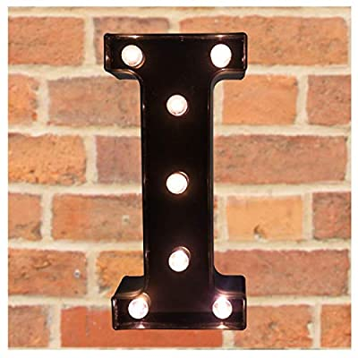 Pooqla Decorative LEDs Illuminated Letter Marquee Sign - Alphabet Marquee Letters with Lights for Wedding Birthday Party Christmas Night Lights Lamp Home Bar Decoration I, Black