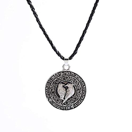 Scpink Venta de liquidación! Venta caliente collar, moda símbolo cuervo nórdico vikingo cadena colgante talismán nudo amuleto (Plateado)