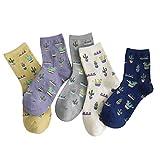 Rembcom Damen Socken Baumwolle 5 Paar Süße Lustige Bunte Socken Damen Thermal Socken Atmungsaktiv We (Kaktus)