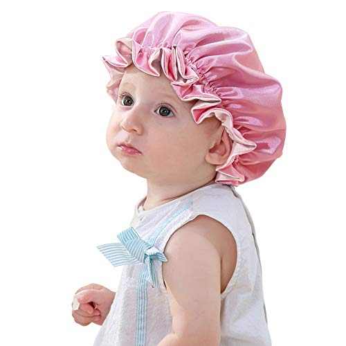 Sent Hair Kids Satin Bonnet Sleep Cap for Natural Hair Double Layers Sleep Bonnet with Drawstring Hair Bonnet for Babies Toddler Child Teen Pink/Light Pink