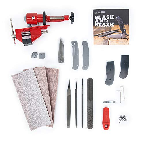 Man Crates Folding Knife Making Kit – Includes Heat-Treated, Stainless Steel Drop Point Blade, Linen Micarta Handle Scales, Vise, File and More – Great Gifts for Men