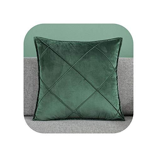 My cat Funda de cojín de terciopelo a cuadros suave nórdico funda de almohada para sala de estar, sofá cama, decoración del hogar, color verde profundo, 50 cm x 50 cm, 2 piezas