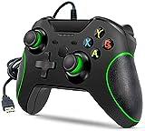 Xbox One-Controller mit Kabel,kabelgebundener Xbox One-Gamecontroller,USB-Gamepad-Gamecontroller,Xbox One-Controller mit Audio-Buchse Dual-Vibration,Geeignet für Xbox One,PC Windows 7/8/10 (Schwarz)