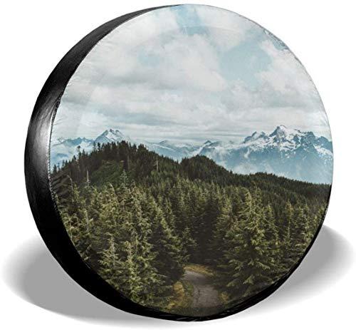 MODORSAN Nature Trees Snow Road Cubierta de neumático de Rueda de Repuesto de poliéster Cubiertas de Rueda universales para Jeep Trailer RV SUV Accesorios de camión, 16 Pulgadas