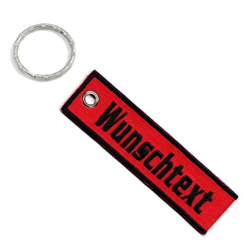 Personalisierter Schlüsselanhänger Bestickt mit Wunschtext 10cm x 2,8cm
