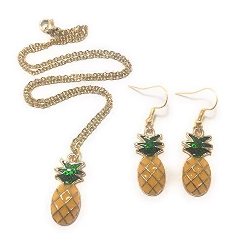 FizzyButton Geschenken Ananas Ketting en Drop Oorbellen Set in Geschenkdoos