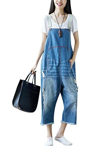Youlee Damen Sommer Breites Bein Hose Denim Latzhose Overall Hosen Style 24