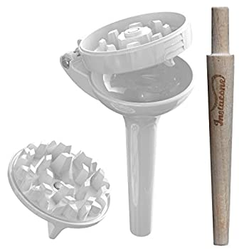 Instacone herb grinder | includes accessories tool for rolling papers into 1-1/4 size pre-rolled raw cones | fine herb and spice grinder with pollen catcher