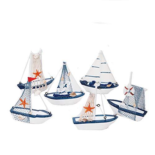 Comtervi 6PCS Decorazione Marittima in Legno veliero, Barca da Pesca in Legno Vela Modello di Nave a Vela