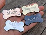 Jinglrr Personalized Stainless Steel Dog Tags Cat Tags ID Tags Extremely Durable Made in USA (Black, Bone Small)