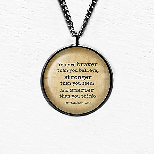 Winnie the Pooh Christopher Robin Braver Stronger Smarter Pendant and Necklace