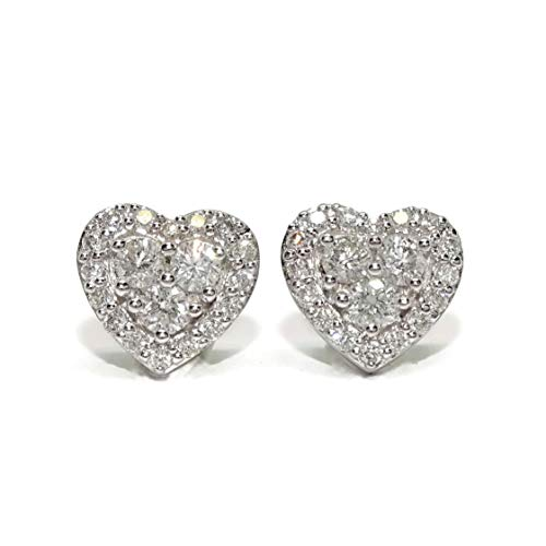 Orecchini con diamanti da 0,73 ct in oro bianco 18 k a forma di cuore di 9 mm di diametro, chiusura a pressione.