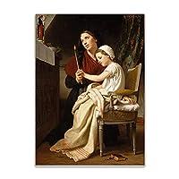 ウィリアムアドルフブーグロー《感謝の捧げ物》キャンバスウォールアートポスターhdプリント部屋の装飾寝室の装飾家の装飾写真-50x70CMフレームレス