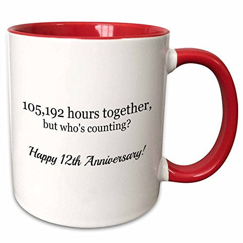 3dRose Happy 12Th Anniversary-105192 Hours Together Two Tone Red Mug, 11 oz