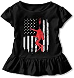 Amerikanische Flagge Tauchen Kleinkind Baby Mädchen Kleid Cozy Rüschen T-Shirt Kurzarm für 2-6T Gr. 5-6 Jahre, Schwarz