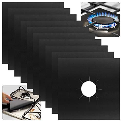 kuou 10 Pcs Gas Hob Range Protectors, Non-Stick Reusable Cooker Protector Stovetop Burner Protector Liner (Black)